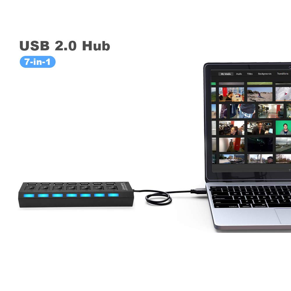 Sunvito 7-Port USB 2.0 Hub with Individual Switches and LEDs,USB Hub 2.0 Splitter for All USB Device