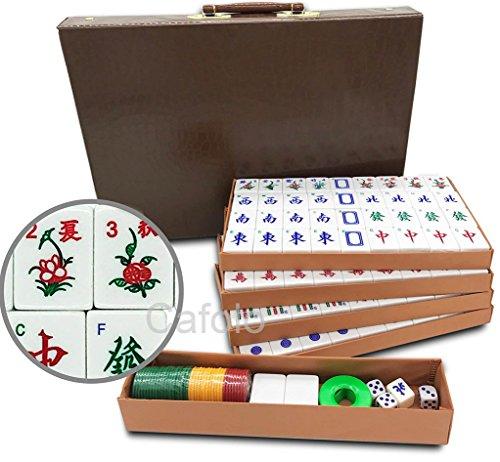 Jongg Mah Bamboo (cafolo Chinese Mahjong X-Large 144 Numbered Melamine Tiles 1.5