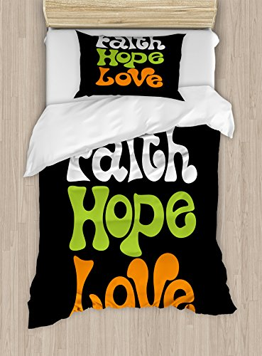 Ambesonne Hope Twin Size Duvet Cover Set, Vintage Sixties Inspired Hand Lettering Faith and Love Message with Religious Themes, Decorative 2 Piece Bedding Set with 1 Pillow Sham, Multicolor by Ambesonne