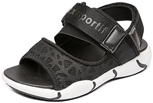 VECJUNIA Boy's Girl's Outdoor Sandals Open Toe Non-Slip Beach Athletic Sandals (Black, 4 M US Big Kid) by VECJUNIA (Image #4)
