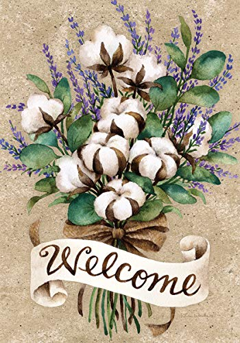 - Custom Decor Cotton Bouquet Welcome - Standard Size, Decorative Double Sided, Licensed and Copyrighted Flag - Printed in The USA Inc. - 28 Inch X 40 Inch Approx. Size
