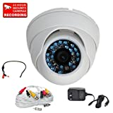 VideoSecu 480TVL CCD Dome IR Security Camera Outdoor Night Vision 3.6mm Wide Angle Lens 20 Infrared LEDs with Power Supply, Preamp Microphone and Audio Video Power Extension Cable CJR Review