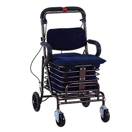 SXRNN Carro de la Compra Plegable Carro de supermercado con Asiento Marco de Andador para Personas