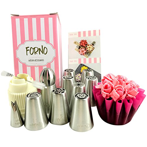 [Unique Set of SMALL Russian Piping Tips by Forno 12 PIECE SET (8 Different Flower Nozzles + Sphere Tip + Matching COUPLER + Double Sided Cleaning Brush + Small Leaf Tip) Instruction Book] (Halloween Cupcake Ideas Kids Decorate)