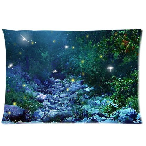 Fireflies in Woods (20 x 30) Cotton & Polyster Bedding Pillowcase Zippered Pillow Cover (Two Sides) (Classic Bedding Toddler)