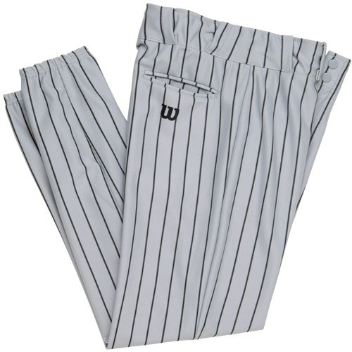 Wilson Adult Poly Warp Knit Woven Pinstripe Baseball Pant, Grey with Black Pinstripes, X-Large