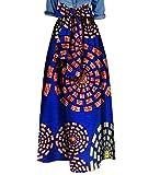 Zimaes Womens Waist African Print Big Pendulum Bowknot Dashiki Long Skirt 11 4XL