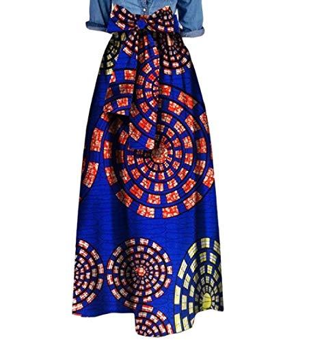 Zimaes Womens Waist African Print Big Pendulum Bowknot Dashiki Long Skirt 11 4XL by Zimaes-Women