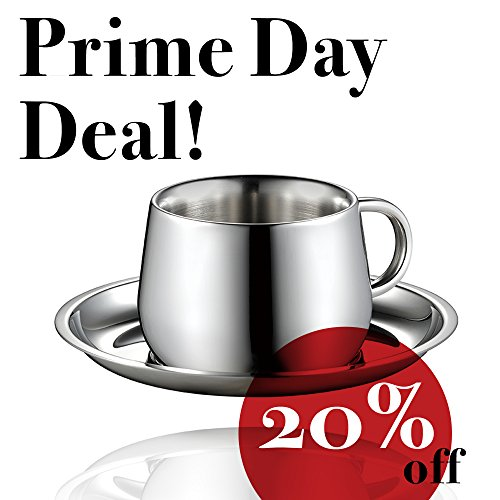 [20% Off] Minos Coffee Cup and Saucer (3oz) - Double Wall Stainless Steel Espresso/Tea Cup with Saucer - Classic, Elegant Design Helps Keep Beverages Warm - Hand-Polished and Easy to Maintain