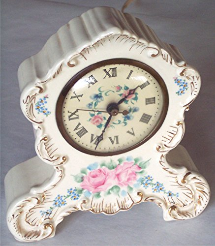 (CLOCK - floral & gold decorated porcelain china, Antique, Quiet / Silent, wall plug 110 volts, for Vanity, nightstand, desk, mantle, Boudoir,)