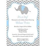 Elephant Baby Shower Invitations, Chevron, Stripes, Boys, Blue, Aqua, Gray, It's a Boy, Little Peanut, Personalized, Set of 10 Printed Invites with Envelopes, Chevron Elephant
