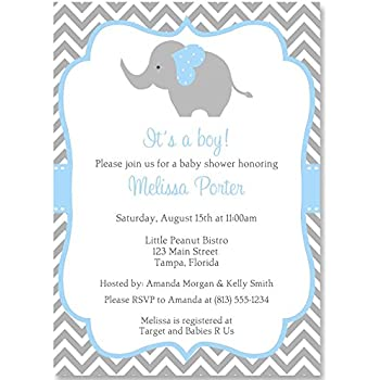 Amazon elephant baby shower invitations chalkboard gender elephant baby shower invitations chevron stripes boys blue aqua gray filmwisefo