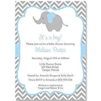 Amazon elephant baby shower invitations chevron stripes elephant baby shower invitations chevron stripes boys blue aqua gray filmwisefo