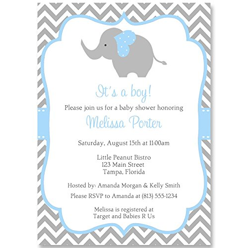 Elephant Baby Shower Invitations, Chevron, Stripes, Boys, Blue, Aqua, Gray, It's a Boy, Little Peanut, Personalized, Set of 10 Printed Invites with Envelopes, Chevron (Baby Shower Invitations Greetings)