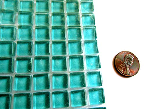 100 Mini Bright Turquoise Aqua Blue Mosaic Tiles, Square Glass Tiles 10 mm
