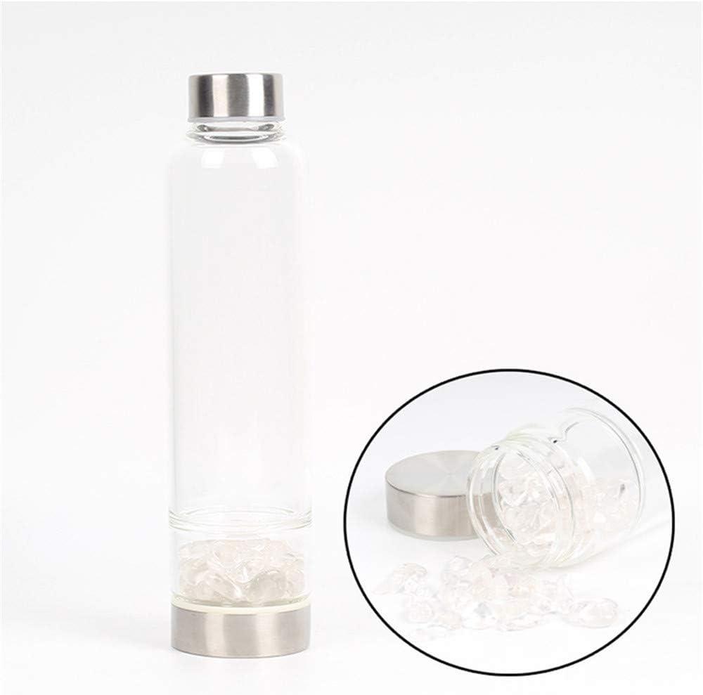 Suneven - Botella de cristal de cuarzo con gemas curativas de cristal de 550 ml Clear Quartz