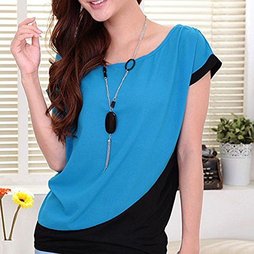 LOBZON - Camisas - Túnica - Básico - Cuello redondo - para mujer Azul