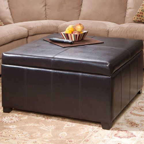 Berkeley Brown Leather Square Storage Ottoman
