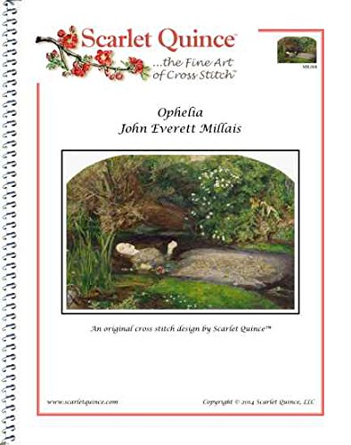 Millais Painting Ophelia - Scarlet Quince MIL008 Ophelia by John Everett Millais Counted Cross Stitch Chart, Regular Size Symbols