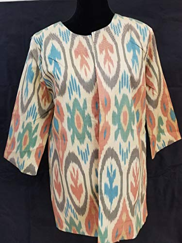(Uzbek TIE-Dyed Hand-Woven Handmade Natural Silk Ikat Jacket Cardigan)