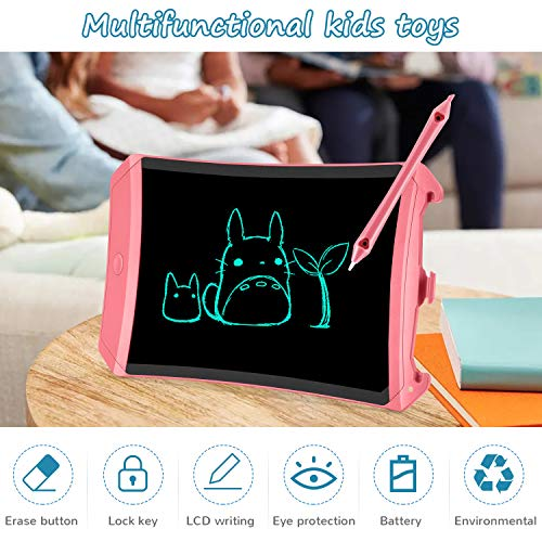 bravokids Preschool Learning Toys for 3-6 Years Old Kids Toddler, 8.5inch LCD Writing Tablet Doodle Board, Educational Sensory Toys Birthday Gifts for Boys Girls Age 3 4 5 6 7 8 12 (Pink)