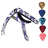 Readaeer Guitar Capo for Acoustic Electric Guitars Ukulele Banjo Bass with Guitar Picks (Blue and white porcelain)