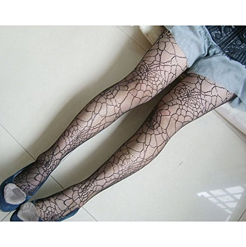 HuntGold Black Lady Girl Elastic Stocking Spider Web Hosiery Tights Pantyhose