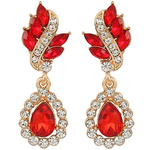 EleQueen Women's Austrian Crystal Art Deco Tear Drop Earrings Gold-tone Ruby Color Pierced