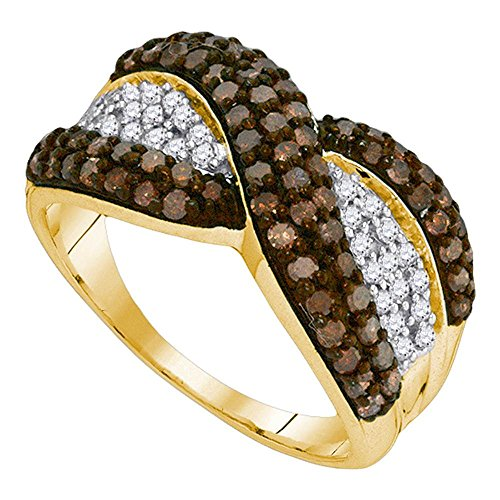 - Brown Diamond X Ring Solid 10k Yellow Gold Fashion Band Chocolate Stripe Design Cluster Fancy 1.00 ctw