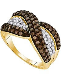 Brown Diamond X Ring Solid 10k Yellow Gold Fashion Band Chocolate Stripe Design Cluster Fancy 1.00 ctw