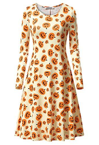 Women's Thanksgiving Pumpkin dress Long Sleeve Loose Swing Casual Midi Dress Print Aline Dress -