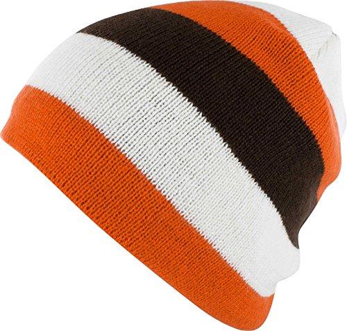Field & Stream Team Sports Stripe Beanie (Orange/Brown)