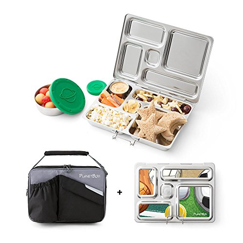 PlanetBox ROVER Eco-Friendly Stainless Steel Bento Lunch Box with 5 Compartments for Adults and Kids - Black Carry Bag with...