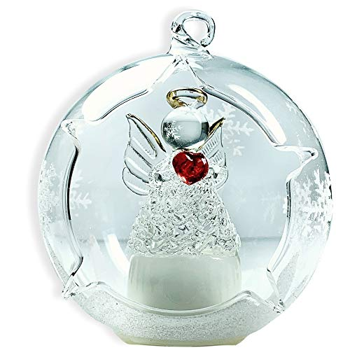 BANBERRY DESIGNS LED Glass Globe Christmas Ornament Angel with Red Heart and Hand Painted Glittery Snowflakes - Color Changing - Glass Christmas Design Ornament