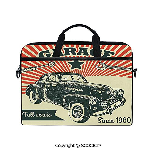 Portable Ultrabook Soft Sleeve Laptop Bag Case Cover Retro Car and Garage Advertising Poster Style Picture with Grunge Effects 1960s Theme Compatible with HP Dell Lenovo
