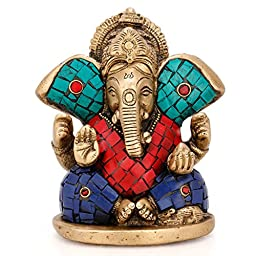 Brass Ganesha Statue Turquoise Sculpture Indian Handcarved Hindu God Lord Ganesh Idol Home Decor Gifts