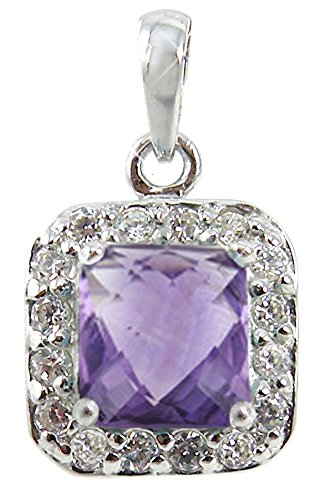 BTS-NP9608//AME//CZWH//R Sterling Silver Pendant with Square Amethyst and Round White CZ