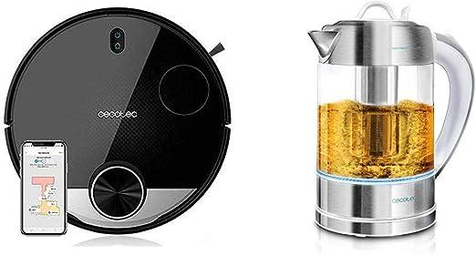 Cecotec Robot Aspirador Conga Serie 3290 Titanium + Hervidor de Agua Eléctrico ThermoSense 370 Clear: Amazon.es: Hogar