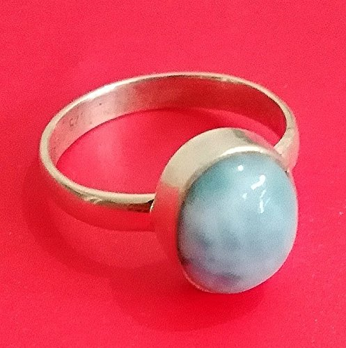Larimar Ring..Sterling Silver Ring..Republican Larimar..Wedding Ring..Bride Wear Ring..Bezel Ring..Promise Jewelry..Caribbean Ring..Honor Gift..Southwestern Ring..Midi Ring..Bridal Shower..US Ring Size 3-15 (Standard)