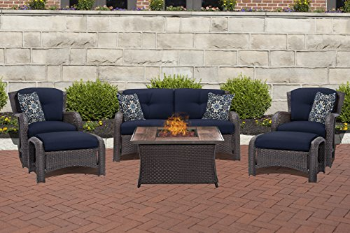Hanover STRATH6PCFP-NVY-WG 6 Piece Strathmere Lounge Set in Navy Blue with Fire Pit Table Outdoor Furniture, Wood Grain Top For Sale
