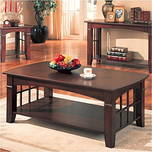 Coaster Antique Country Style Coffee Table, Cherry Finish