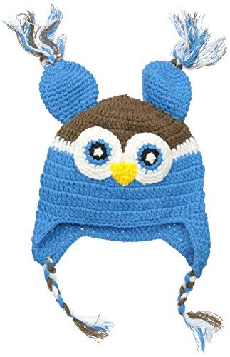 Wippette Boys' Crochet Owl Hat, Blue, One Size (Baby)