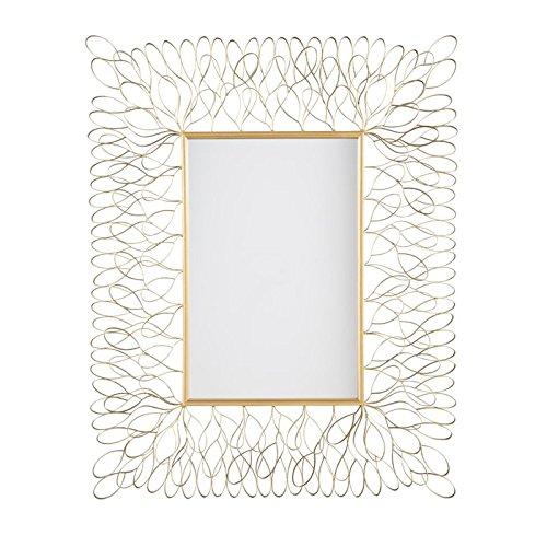 Ashley Furniture Signature Design - Ogdon Petal Ribbon Metal Wall Mirror - Vertical or Horizontal - Contemporary - Antique Gold Finish