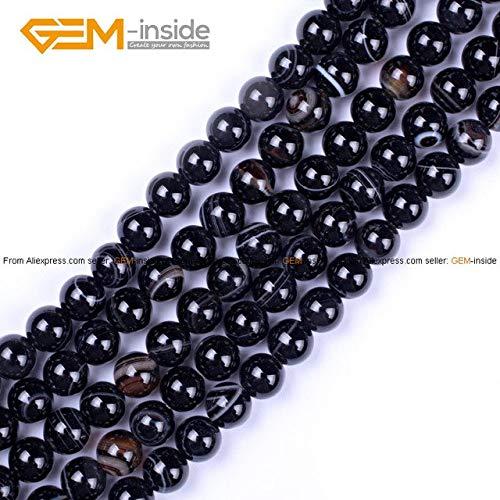 Calvas Natural Round Black Sardonyx Agates Stone Beads for Jewelry Making DIY Bracelet Jewellery Strand 15