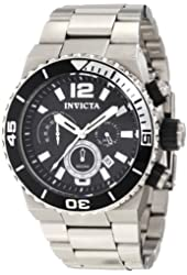 Invicta Men's 1341 Pro Diver Chronograph Black Textured Dial Stainless Steel Watch