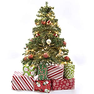 Prextex 4 Feet Premium Hinged Artificial Canadian Fir Christmas Tree Lightweight/Easy to Assemble with Christmas Tree Stand 2