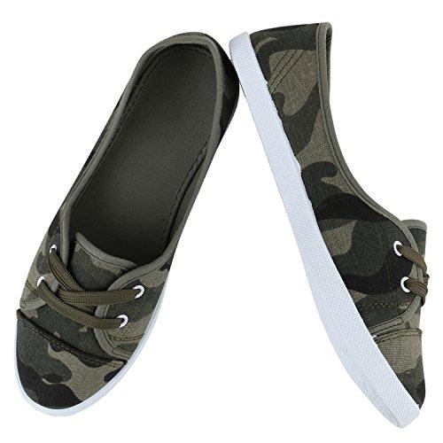 Sportliche Sneakers Damen Ballerinas Denim Stoffschuhe Schnürer Schuhe Halbschuhe Muster Lochung Flats Camouflage Spitze Flandell Camouflage