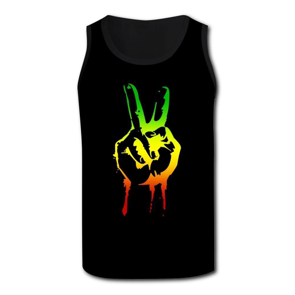QUANSHI Tank Tops for Men 3D Printed Reggae /& Peace Sleeveless Racerback Vest Shirts