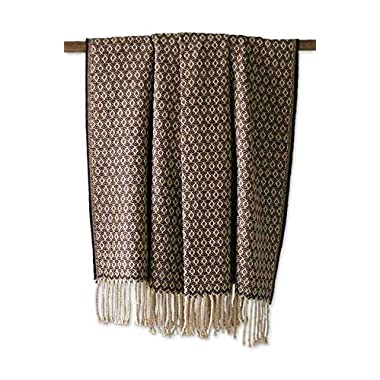 NOVICA Alpaca Wool Blend Throw Blanket, 'Cocoa and Cream', Handmade in Peru