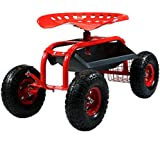 Sunnydaze Rolling Shop Cart with Steering Handle, Swivel Seat & Tool Basket, Red